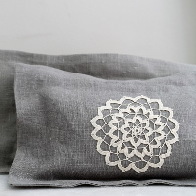 Lavender Pillow-Mandala Embroidered